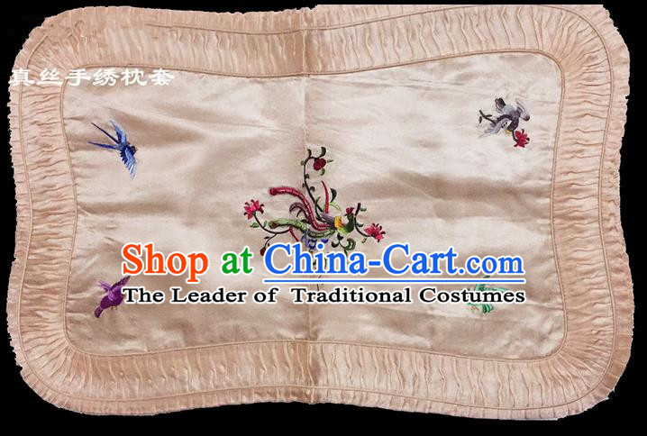 Traditional Asian Chinese Handmade Embroidery Phoenix Silk Pink Pillowslip, Top Grade Nanjing Brocade Pillow Cover