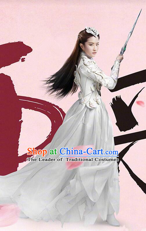 Asian Chinese Traditional Female Costume and Headpiece Complete Set, Films Once Upon a Time China Warrior General Armour Clothing for Women