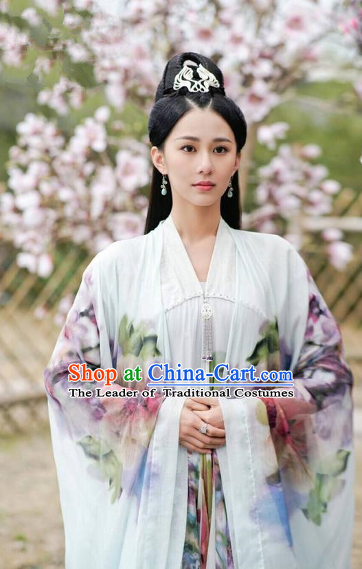Asian Chinese Traditional Northern and Southern Dynasties Palace Lady Costume and Headpiece Complete Set, Lost Love In Times China Ancient Princess Dress Clothing