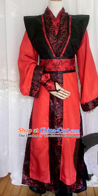 Asian Chinese Traditional Cospaly Prince Wedding Costume, China Elegant Hanfu Swordsman Clothing for Men