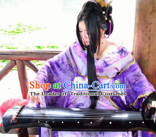 Asian Chinese Traditional Cospaly Tang Dynasty Imperial Consort Costume, China Elegant Hanfu Peri Purple Dress Clothing for Women