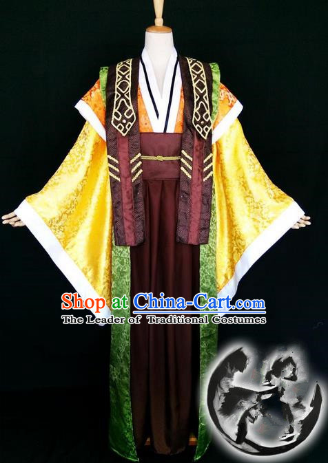 Asian Chinese Traditional Cospaly Three Kingdoms Zhou yu  Costume, China Elegant Hanfu Prince Clothing for Men