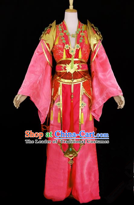 Asian Chinese Traditional Cospaly Tang Dynasty Young Lady Costume, China Elegant Hanfu Fairy Pink Dress Clothing for Women