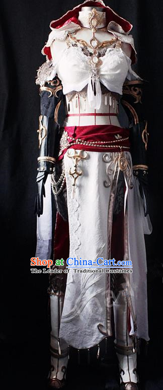 Asian Chinese Traditional Cospaly Customization Ming Dynasty Female Swordsman Costume, China Elegant Hanfu Knight-errant General Embroidered Clothing for Women