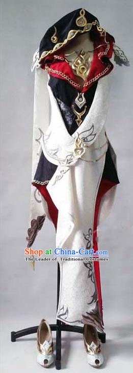 Asian Chinese Traditional Cospaly Customization Ming Dynasty Princess Knight-errant Embroidered Costume, China Elegant Hanfu Female General Clothing for Women