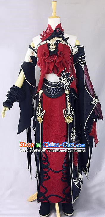 Asian Chinese Traditional Cospaly Customization Ming Dynasty Kung Fu Instructor Swordsman Costume, China Elegant Hanfu Knight-errant Embroidered Clothing for Women