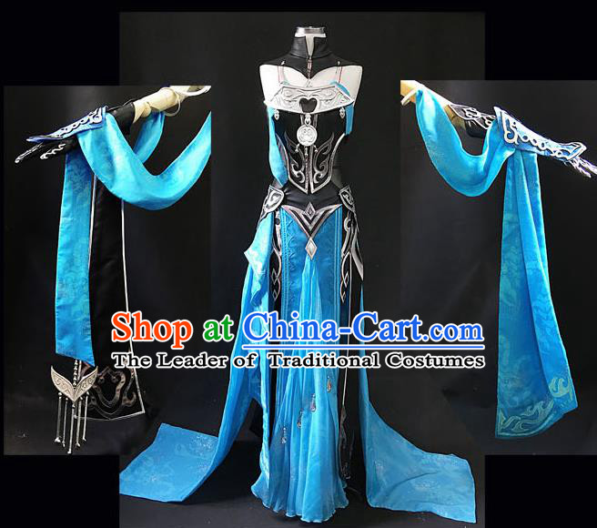 Asian Chinese Traditional Cospaly Costume Customization Swordswoman Costume, China Elegant Hanfu Peri Blue Dress Clothing for Women