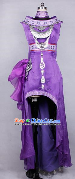 Asian Chinese Traditional Cospaly Costume Customization Ancient Miao Nationality Young Lady Costume Complete Set, China Elegant Hanfu Princess Purple Dress Clothing for Women