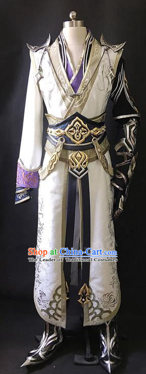 Asian Chinese Traditional Cospaly Costume Customization Ancient Hero Costume Complete Set, China Elegant Hanfu Swordsman Clothing for Men