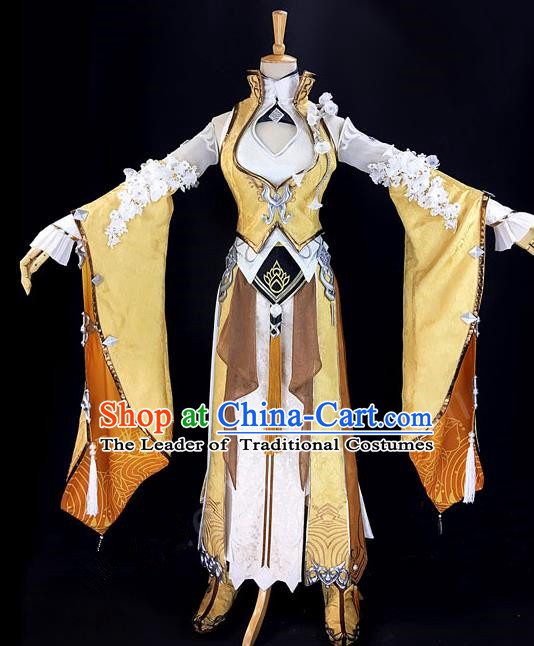 Asian Chinese Traditional Cospaly Costume Customization Ancient Royal Princess Costume Complete Set, China Elegant Hanfu Swordsman General Clothing for Women