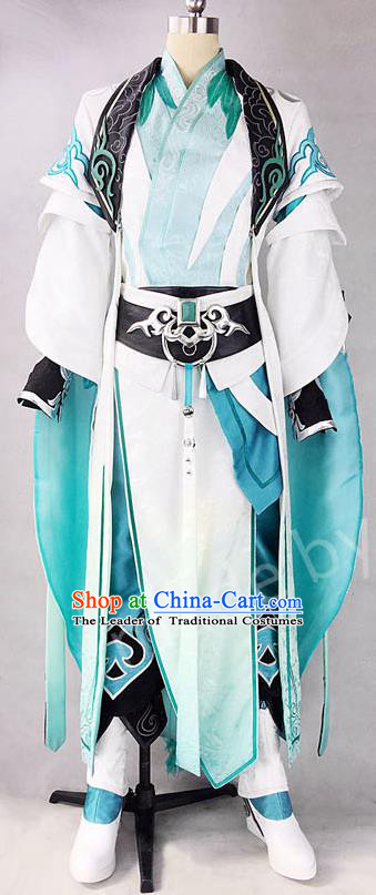 Asian Chinese Traditional Cospaly Costume Customization Ancient Prince Costume Complete Set, China Elegant Hanfu Swordsman Nobility Childe Clothing for Men
