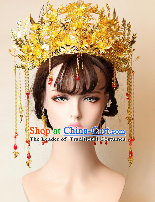Chinese Ancient Style Hair Jewelry Accessories Wedding Tassel Hairpins, Hanfu Xiuhe Suits Step Shake Bride Handmade Phoenix Coronet Hair Fascinators for Women
