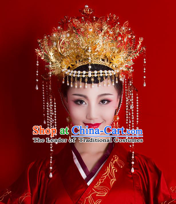 Asian Chinese Ancient Style Hair Jewelry Accessories Wedding Headwear, Hanfu Xiuhe Suits Bride Handmade White Prerls Tassel Phoenix Coronet for Women