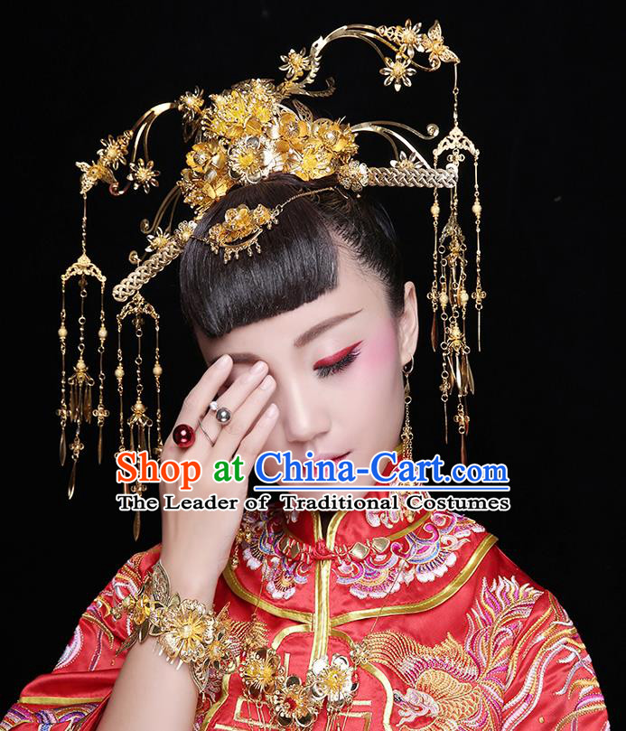 Asian Chinese Ancient Style Hair Jewelry Accessories Wedding Headwear, Hanfu Xiuhe Suits Bride Handmade Tassel Phoenix Coronet Hair Fascinators Complete Set for Women
