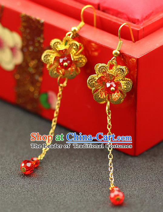 Chinese Ancient Style Hair Jewelry Accessories Wedding Golden Tassel Lotus Earrings, Hanfu Xiuhe Suits Bride Handmade Red Bead Eardrop for Women