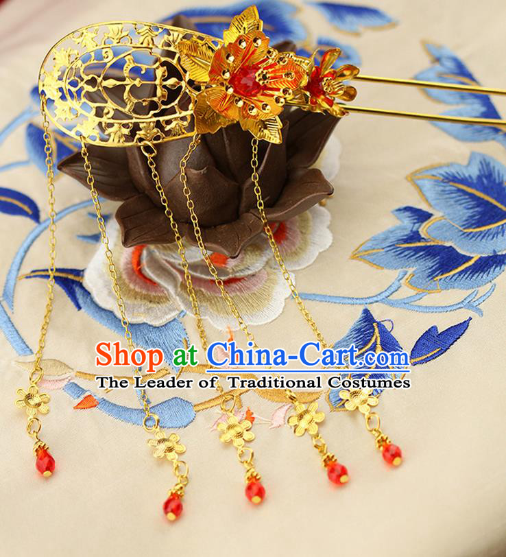 Asian Chinese Ancient Style Hair Jewelry Accessories Wedding Tassel Hairpin, Step Shake Hanfu Xiuhe Suits Bride Handmade Hairpins for Women