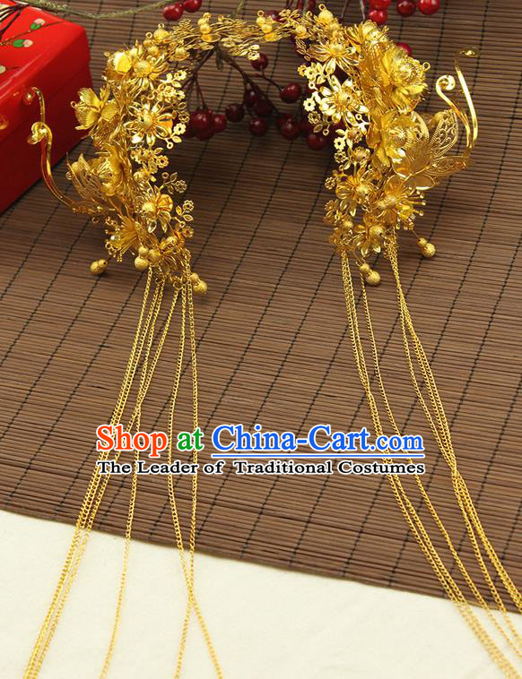 Asian Chinese Ancient Style Hair Jewelry Accessories Wedding Tassel Golden Hair Clasp, Step Shake Hanfu Xiuhe Suits Bride Handmade Phoenix Crown for Women