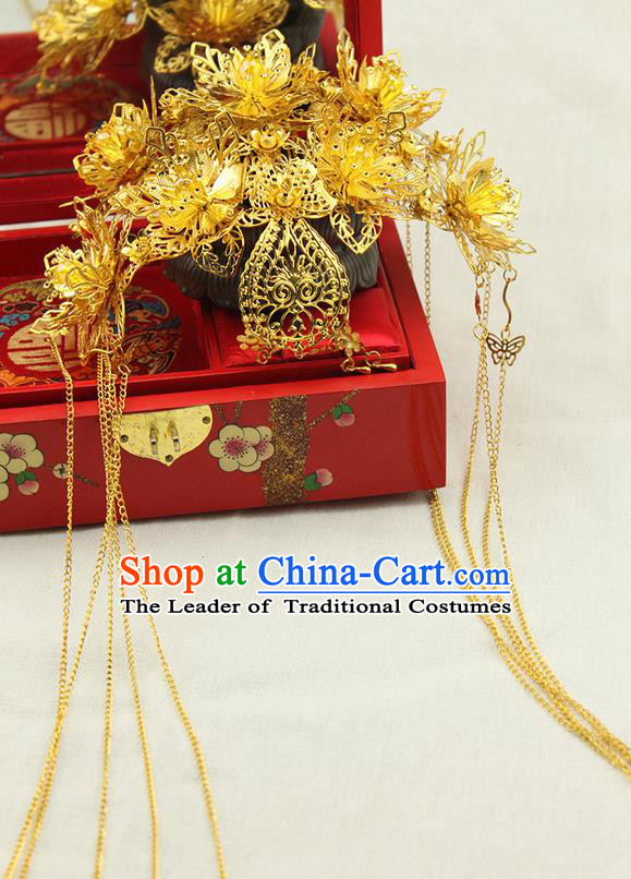 Asian Chinese Ancient Style Hair Jewelry Accessories Wedding Tassel Golden Hair Clasp, Step Shake Hanfu Xiuhe Suits Bride Handmade Phoenix Coronet for Women