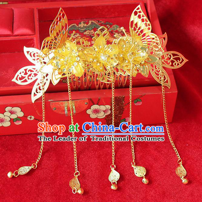Asian Chinese Ancient Style Hair Jewelry Accessories Wedding Tassel Golden Frontlet, Step Shake Hanfu Xiuhe Suits Bride Handmade Hair Comb for Women