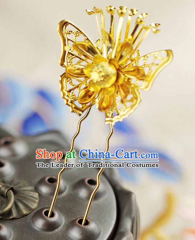 Asian Chinese Ancient Style Hair Jewelry Accessories Wedding Golden Butterfly Little Hairpin, Hanfu Xiuhe Suits Bride Handmade Hair Stick for Women