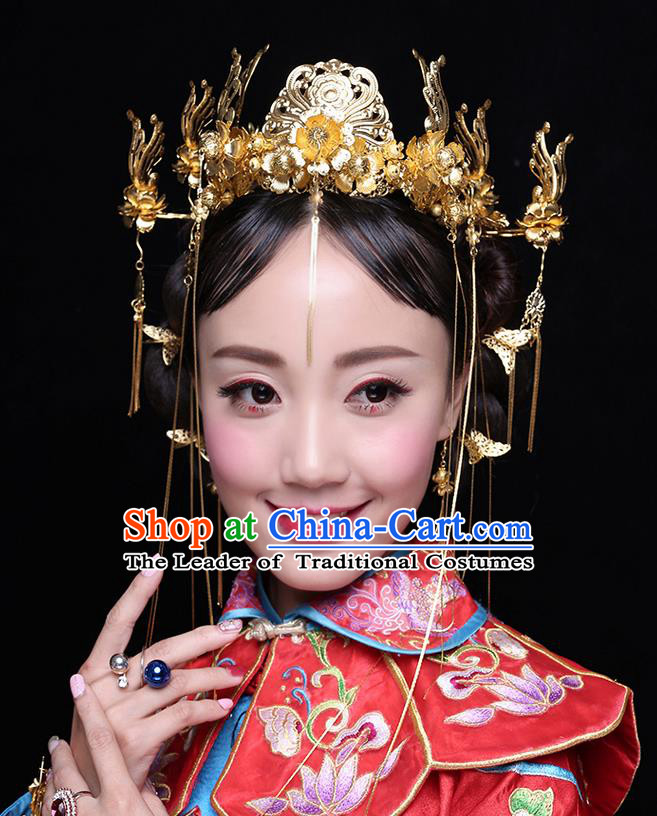 Chinese Ancient Style Hair Jewelry Accessories Wedding Tassel Hairpins, Hanfu Xiuhe Suits Step Shake Bride Handmade Phoenix Coronet Hair Fascinators Complete Set for Women