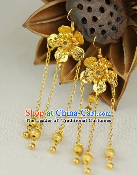 Chinese Ancient Style Hair Jewelry Accessories Wedding Golden Flower Earrings, Hanfu Xiuhe Suits Bride Handmade Eardrop for Women