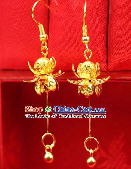 Chinese Ancient Style Hair Jewelry Accessories Wedding Golden Tassel Lotus Earrings, Hanfu Xiuhe Suits Bride Handmade Bead Eardrop for Women