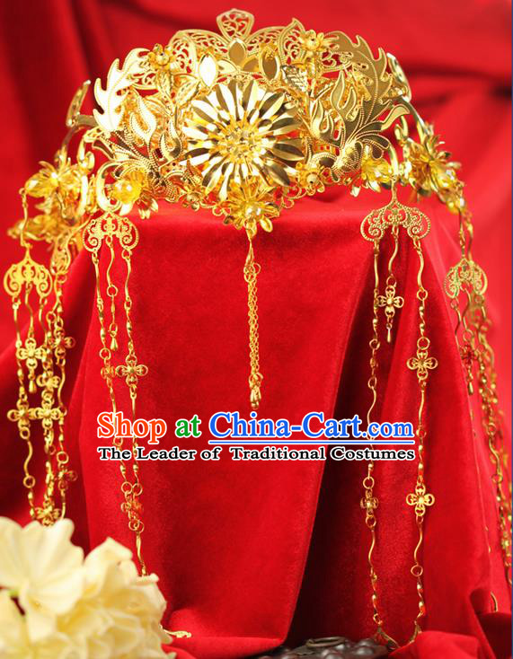 Chinese Ancient Style Hair Jewelry Accessories Wedding Luxury Tassel Hairpins, Hanfu Xiuhe Suits Step Shake Bride Tuinga Handmade Golden Phoenix Coronet for Women