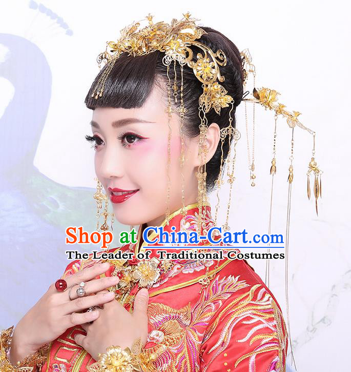 Chinese Ancient Style Hair Jewelry Accessories Hairpins xiuhe Suit Headwear Headdress Hair Fascinators for Women