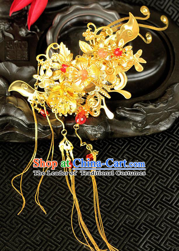 Chinese Ancient Style Hair Jewelry Accessories Wedding Hair Stick Tassel Step Shake, Hanfu Xiuhe Suits Bride Handmade Hairpins for Women
