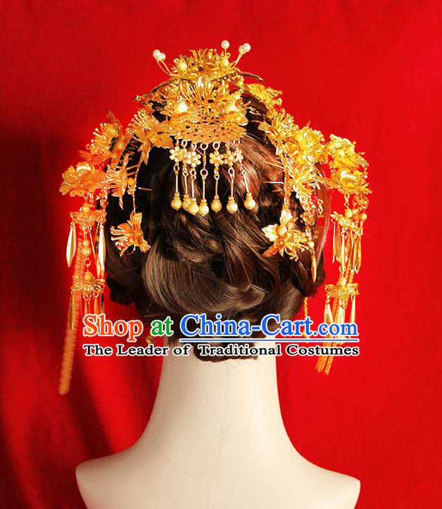 Chinese Ancient Style Hair Jewelry Accessories Wedding Tassel Hairpins Complete Set, Hanfu Xiuhe Suits Step Shake Bride Tuinga Handmade Phoenix Coronet for Women