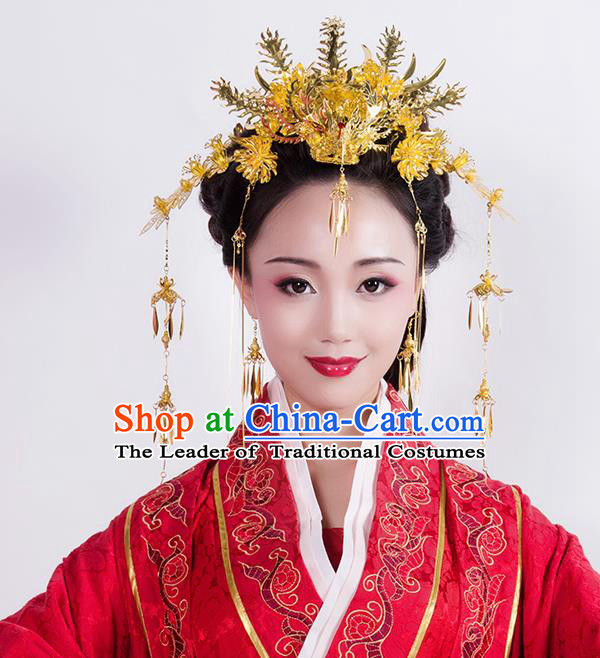 Chinese Ancient Style Hair Jewelry Accessories Wedding Golden Phoenix Coronet Complete Set, Hanfu Xiuhe Suits Step Shake Bride Handmade Hairpins for Women