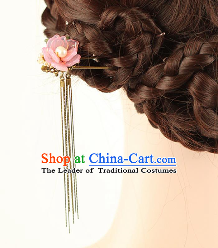 Chinese Ancient Style Hair Jewelry Accessories Wedding Pink Flower Hair Stick, Hanfu Xiuhe Suits Step Shake Bride Handmade Hairpins for Women