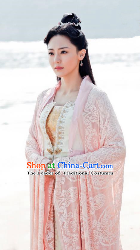 Asian Chinese Traditional Northern and Southern Dynasties Young Lady Costume and Headpiece Complete Set, Lost Love In Times China Ancient Fairy Princess Embroidered Dress Clothing