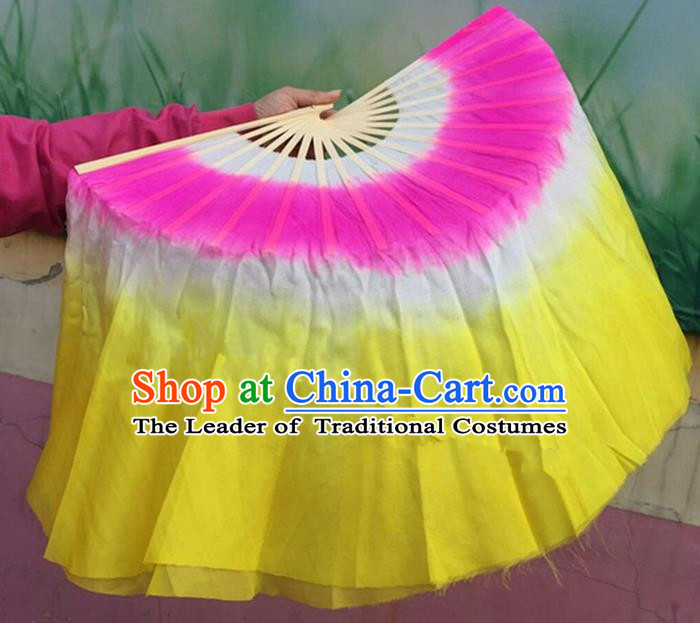 Pure Silk Traditional Chinese Fans Oriental Fan Folk Dance Dance Ribbons Cultural Yangko Hand Fan