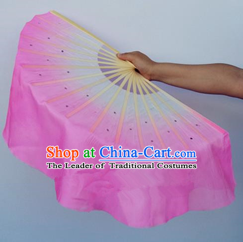 Pink Pure Silk Traditional Chinese Fans Oriental Fan Folk Dance Dance Cultural Hand Fan