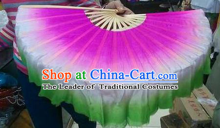 Pure Silk Traditional Chinese Fans Oriental Gradient Ribbon Fan Folk Dance Cultural Yanko Dance Hand Fan