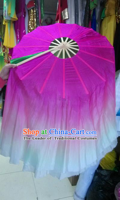 Pure Silk Traditional Chinese Fans Oriental Rosy Ribbon Fan Folk Dance Cultural Yangko Lotus Dance Hand Fan
