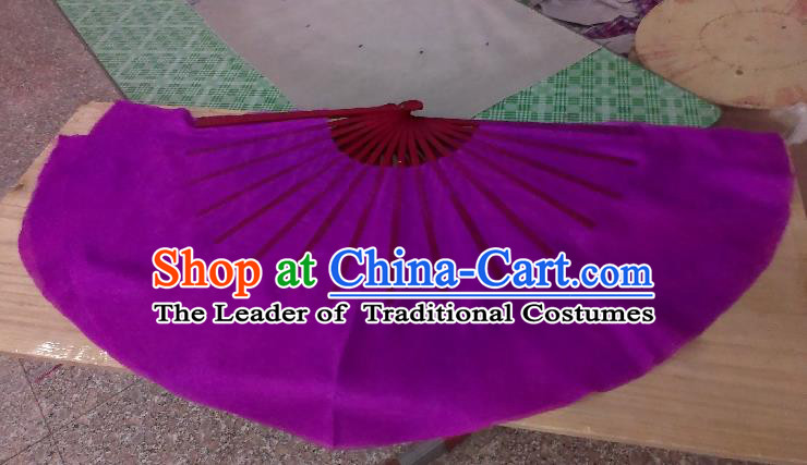 Pure Silk Traditional Chinese Fans Oriental Purple Ribbon Fan Folk Dance Cultural Yangko Dance Hand Fan