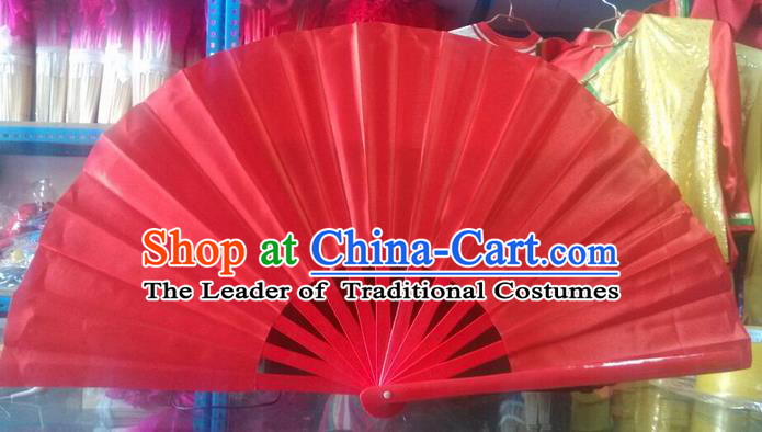 Pure Silk Traditional Chinese Fans Oriental Red Kung Fu Folding Fan Folk Dance Cultural Tai Chi Dance Hand Fan