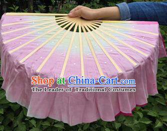 Pure Silk Traditional Chinese Fans Oriental Pink Ribbon Jasmine Flower Fan Folk Dance Cultural Yangko Dance Hand Fan