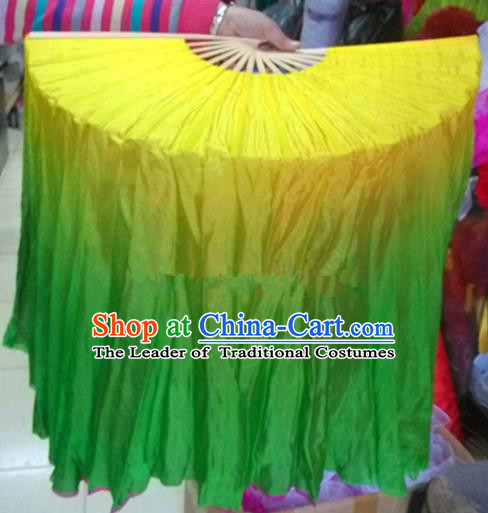 Pure Silk Traditional Chinese Fans Oriental Green Long Ribbon Folding Fan Folk Dance Cultural Yangko Dance Hand Fan