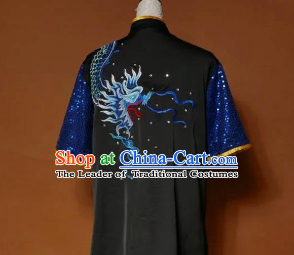 Top Grade Kung Fu Silk Costume Asian Chinese Martial Arts Tai Chi Training Black Uniform, China Embroidery Dragon Paillette Gongfu Shaolin Wushu Clothing for Men