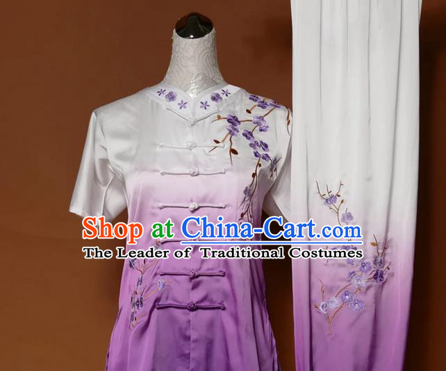 Asian Chinese Top Grade Silk Kung Fu Costume Martial Arts Tai Chi Training Gradient Purple Uniform, China Embroidery Plum Blossom Gongfu Shaolin Wushu Clothing for Women