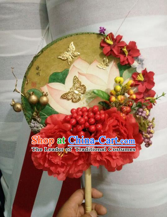 Traditional Chinese Crafts Round Fan China Wedding Fan Imperial Consort Bride Butterfly Flowers Fans for Women
