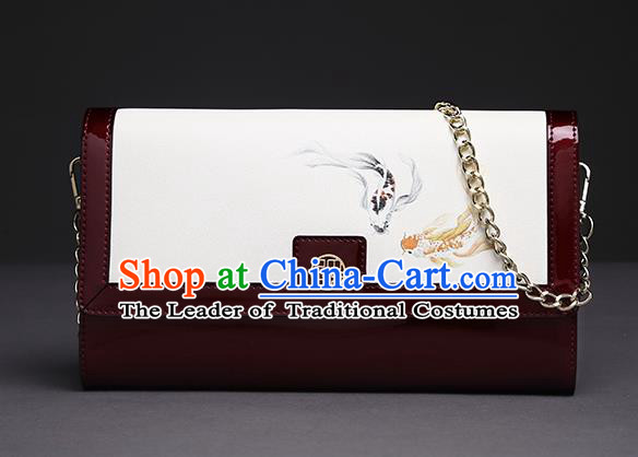 Traditional Handmade Asian Chinese Element Clutch Bags Folding Wallet National Printing Fish Red Chain Handbag for Women
