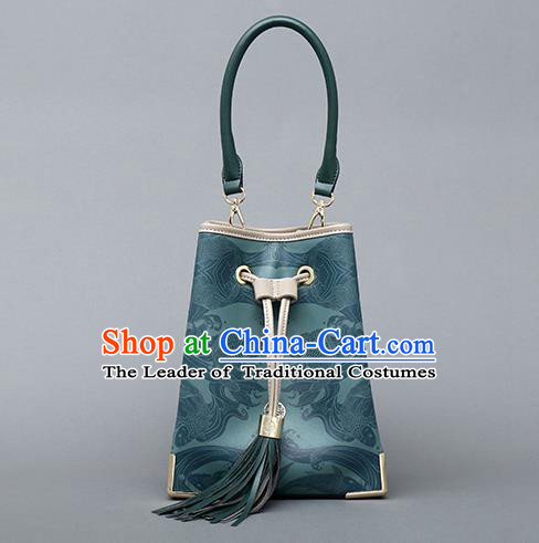 Traditional Handmade Asian Chinese Element Clutch Bucket Bags Shoulder Bag Printing National Green Handbag for Women