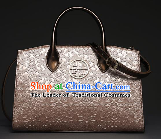 Traditional Handmade Asian Chinese Element Knurling Shoulder Bags National Pink Handbag for Women
