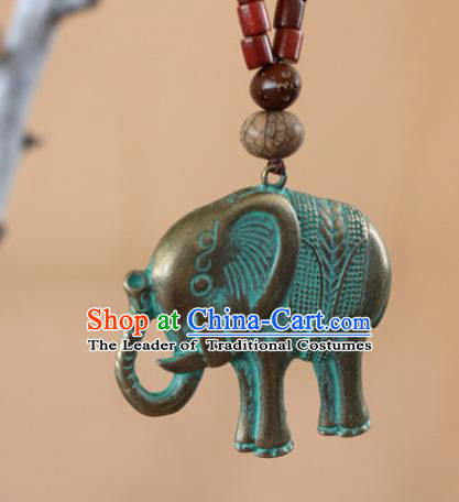 Traditional Handmade Chinese National Miao Nationality Embroidery Tassel Elephant Necklace for Women