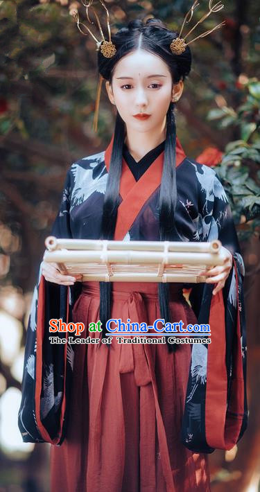 Traditional Ancient Chinese Costume Slant Opening Ru Skirt, Elegant Hanfu Clothing Chinese Jin Dynasty Imperial Princess Wide Sleeve Printing Crane Robe Clothing for Women